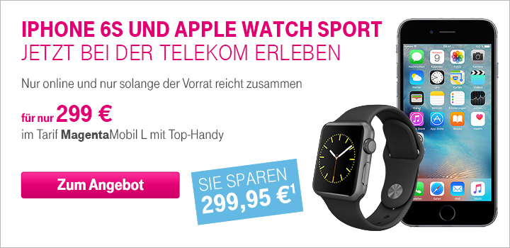 Apple iPhone 6s und Apple Watch Sport im Bundle