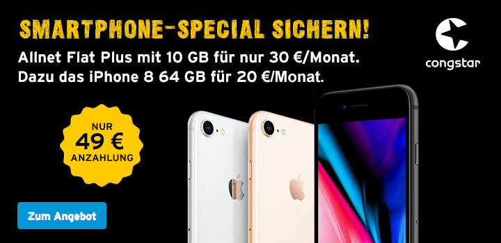 congstar Smartphone Special: Allnet Flat Plus mit 10 GB + iPhone 8 64 GB